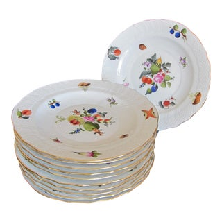 Herend Fruits & Flowers Dessert Plates - Set of 10 For Sale