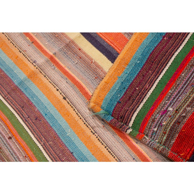 Contemporary Striped Wool Kilim Rug - 6′10″ × 11′6″ For Sale - Image 4 of 6