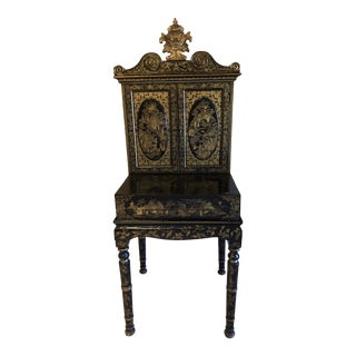 19th Century Chinoiserie Black Lacquer Secretary Desk For Sale