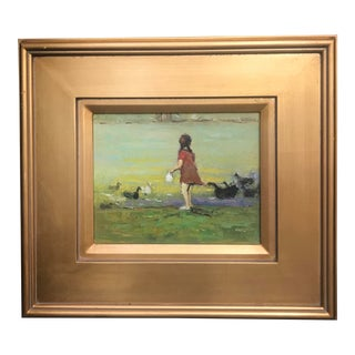 Impressionist Tom Ross Little Girl Feeding Ducks Framed Painting For Sale