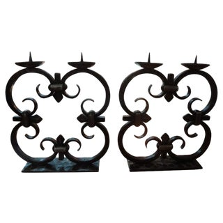 1940s French Art Deco Wrought Iron Candle Holders by Michel Zadounaisky - a Pair For Sale