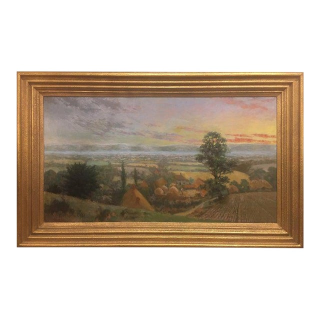 """British Oil on Canvas """"Valley of the Rothe"""" by F. M. de la Coze, 20th Century For Sale"""