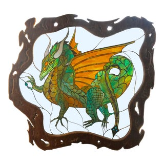 Dragon Stained Glass Panel Artist Signed With Wood Frame For Sale