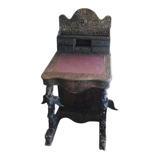 1900s Anglo Indian Ornamental Writing Desk For Sale