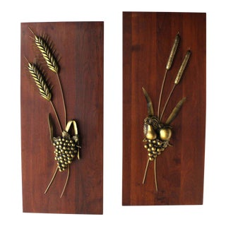 Non-Matching Pair of Cast Metal Sculptures on Solid Walnut Mount Board For Sale