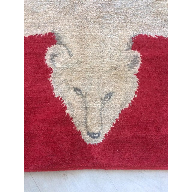 1960s Vintage Wool Polar Bear Red Rug - 3′10″ × 5′9″ For Sale - Image 4 of 8