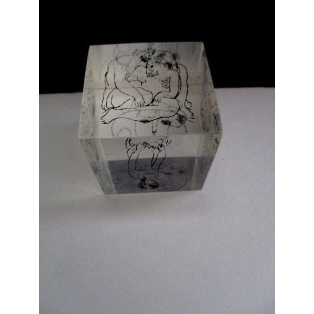 Pablo Picasso Picasso Drawings Lucite Cube Paperweight For Sale - Image 4 of 9