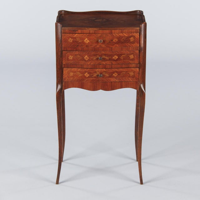 Brown 20th Century Louis XV Marquetry Bedside Chest of Drawers For Sale - Image 8 of 13