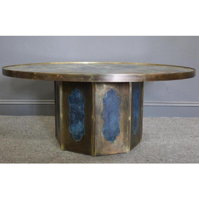 """Phillip and Kelvin Laverne """"Chan"""" Coffee Table. The top is acid-etched of patinated bronze, pewter, and enamel of a..."""