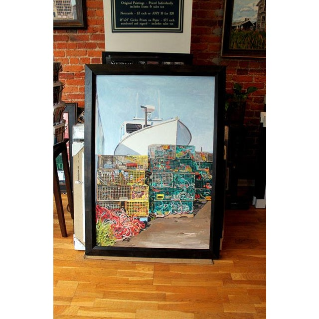 This is for the original painting. acrylic on canvas 34″ x 50″. Measures around 40″ x 56″ with the frame. Really nice,...