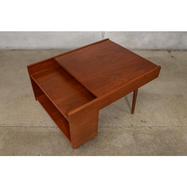 Beautiful walnut side table designed by Milo Baughman for Glenn of California, 1950's. This piece has been totally...