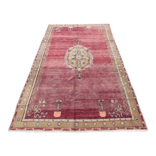 1960s Vintage Turkish Red Rug - 5′7″ × 9′6'' For Sale
