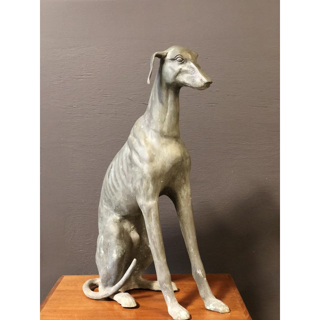 Regal Statue Of Greyhound, sharp detail of ribcage, beautiful wear and patina to brass.