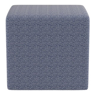 Cube Ottoman in Navy Scattered Dot For Sale