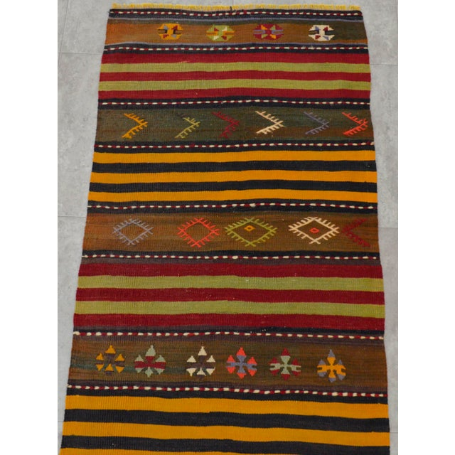Turkish Kilim Hand Woven Wool Runner Rug - 2′6″ × 8′8 For Sale - Image 6 of 8