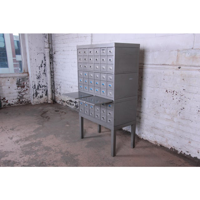 Shaw Walker Mid-Century 54-Drawer Metal Library Card Catalog For Sale In South Bend - Image 6 of 13