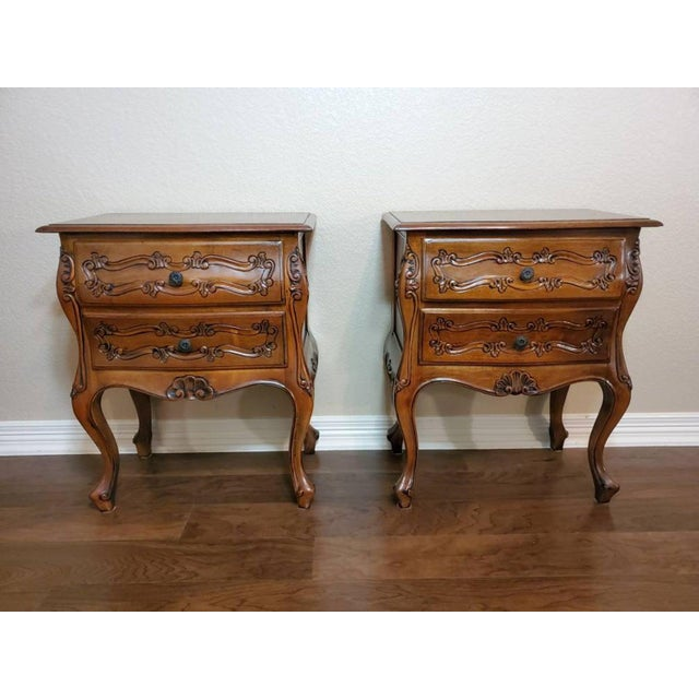 Italian Louis XV Style Carved Walnut Bedside Tables - a Pair For Sale - Image 11 of 11