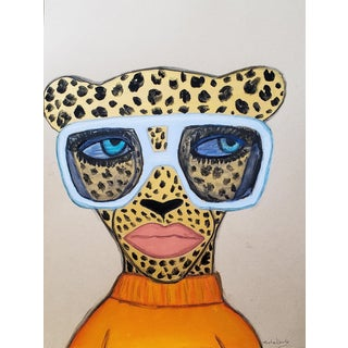 Orange Sweater Cheetah Drawing For Sale