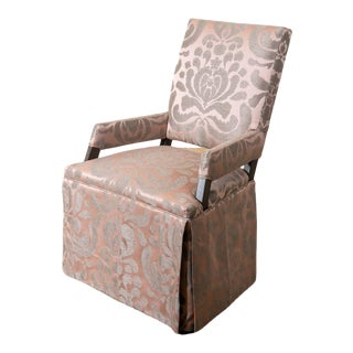 Lee Industries Upholstered Skirted Seld Chair For Sale