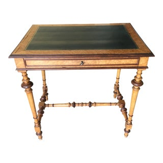 19th Century French Antique Game Table With Woodturning Design Legs and Green Leather Top For Sale