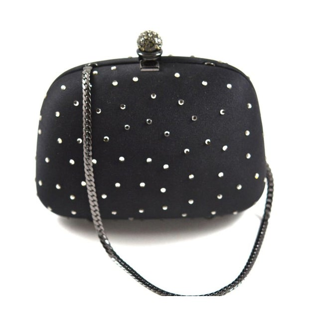 Modern Rodo Black Silk Crystallized Clutch For Sale - Image 3 of 4
