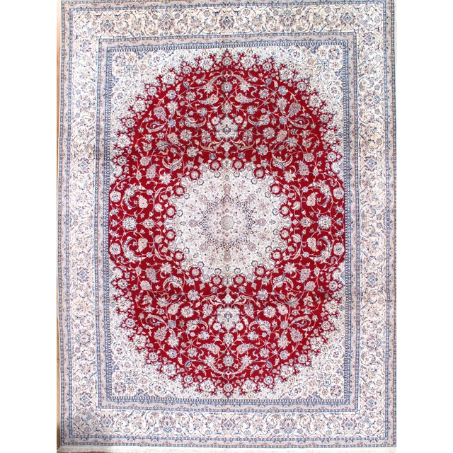 Original Fine Persian NAIN Handmade Hand-knotted Silk and Wool Pile on a Cotton Foundation 6-Line Hand-Spun Wool Rug...