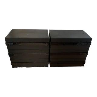 Bespoke Furniture Matte Blackened Steel Handles Nightstands - A Pair For Sale