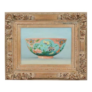 Early 20th Century Antique Gilt Framed Still Life With Porcelain Bowl Painting For Sale