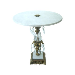 Vintage Italian Marble Side Table, Crystal Drops For Sale