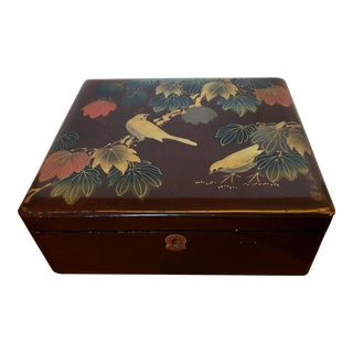 Japanese Burgundy Lacquered Box For Sale