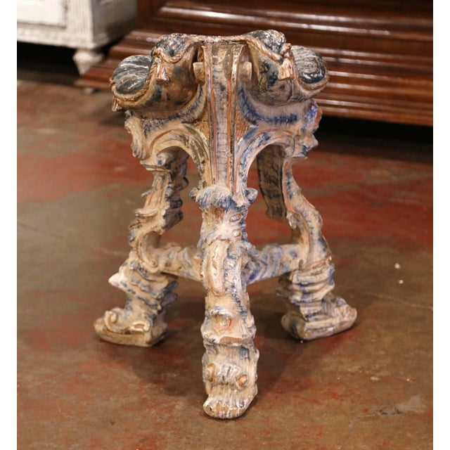 Early 20th Century French Carved Painted and Silver Vanity Chair or Piano Stool For Sale - Image 11 of 13