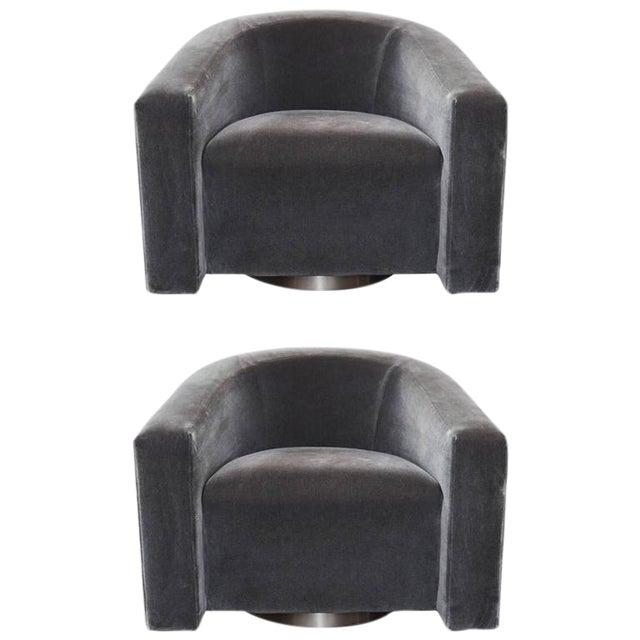 donghia barrel charcoal mohair swivel chairs a pair chairish