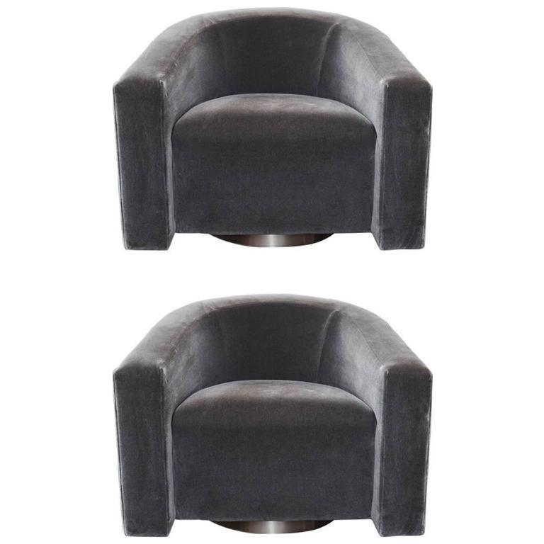 Donghia Barrel Charcoal Mohair Swivel Chairs   A Pair