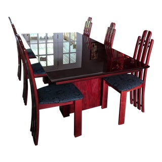 Modern African Mahogany Dining Room Set For Sale