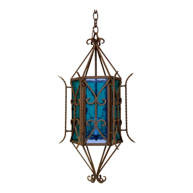 1920s Gothic Revival Lantern With Blue & Green Glass For Sale
