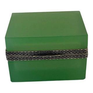 Green Opaline Square Box For Sale