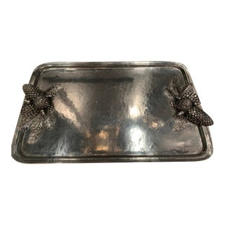 Antique Gorsuch Italian Pewter Acorn Serving Tray For Sale