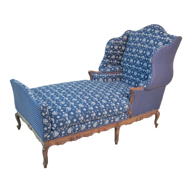 Louis XV Trouvailles Style Blue Upholstered Chaise Lounge For Sale