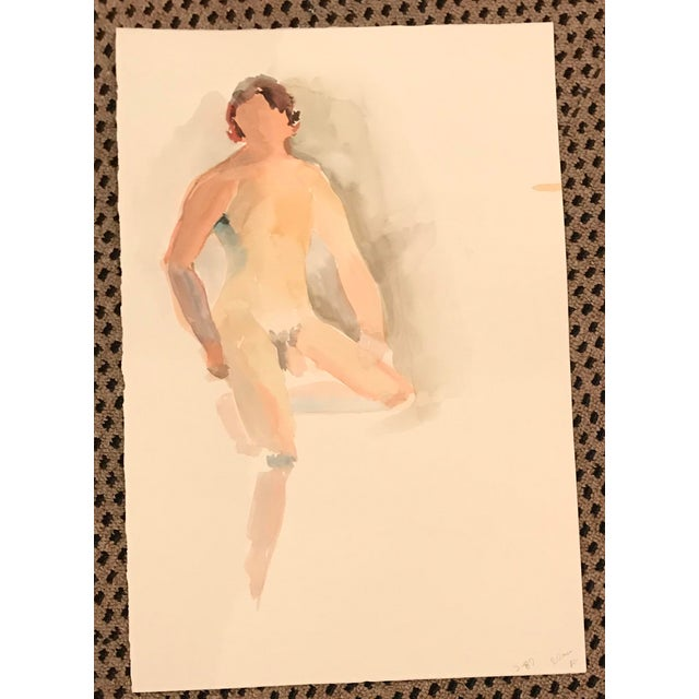This is a vintage watercolor painting from the Estate of Myra Kyle. The piece portrays a posed male nude.