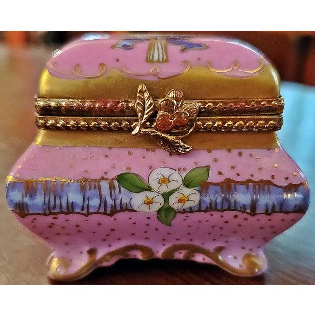 Blue Vintage Limoges Sarcophagus Ring Box For Sale - Image 8 of 12