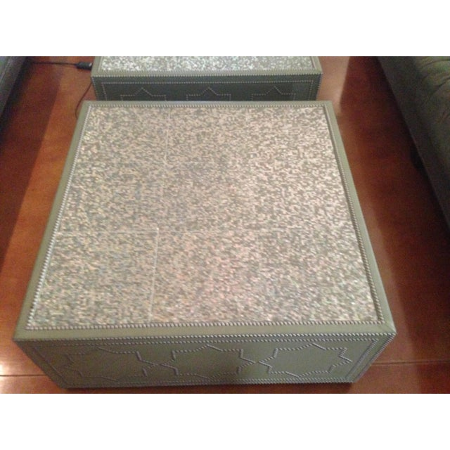 Frank Roop Designed Leather & Mother of Pearl Coffee Table - Image 3 of 6