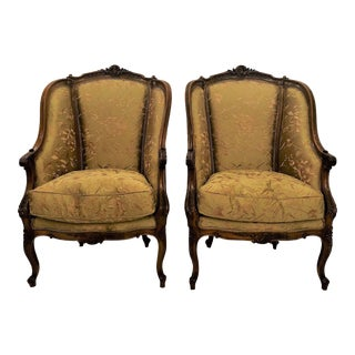 Pair Antique French Carved Walnut Bergeres, Circa 1880. For Sale