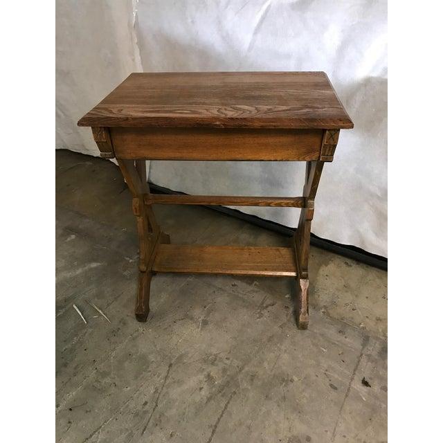 1920s Hudson River School Oak Trestle Writing Table For Sale - Image 6 of 7