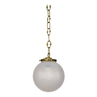 1920s Frosted Patterned Globe Pendant For Sale
