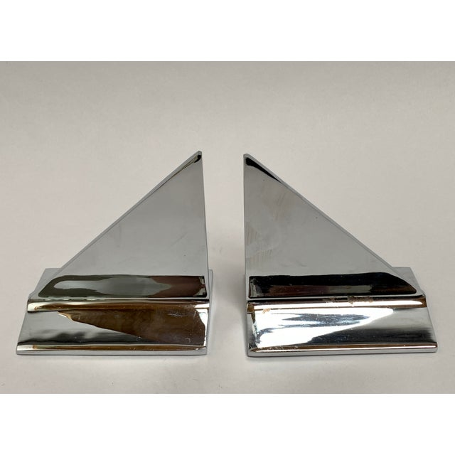 Mid-Century Abstract Modern Chrome Bookends - a Pair For Sale In New York - Image 6 of 13