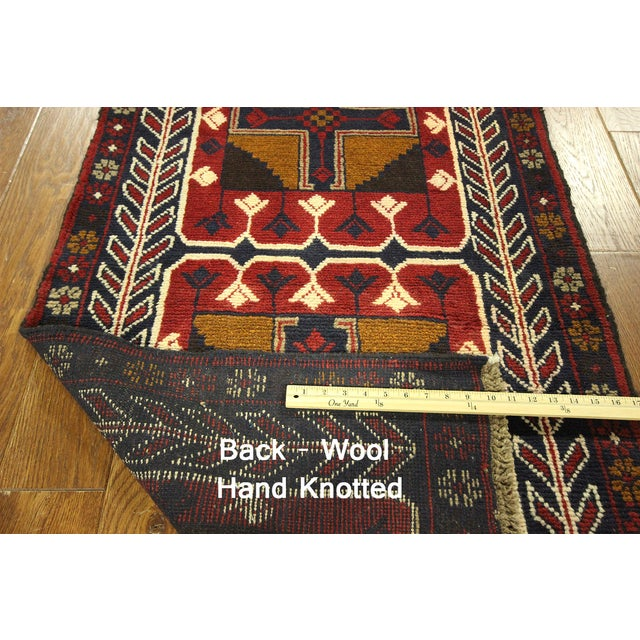 """Persian Baluch Red & Blue Rug - 2'7"""" x 9'10"""" - Image 7 of 7"""