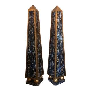Huge Faux Marble Obelisks - a Pair For Sale