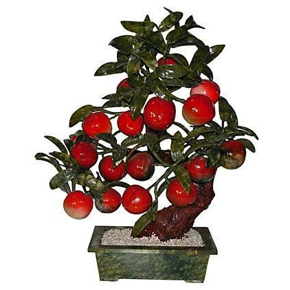 Large Carved Jade & Stone Peach Tree - Image 1 of 6
