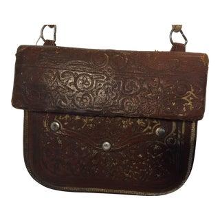 Moroccan Hand Tooled Leather Berber Tribal Shoulder Bag For Sale