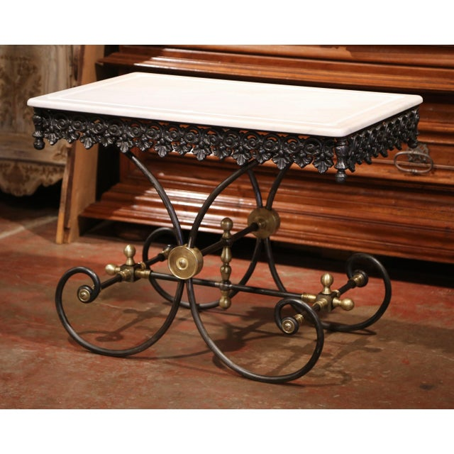 Polished French Iron Butcher or Pastry Table With Marble Top and Brass Mounts - Image 11 of 11